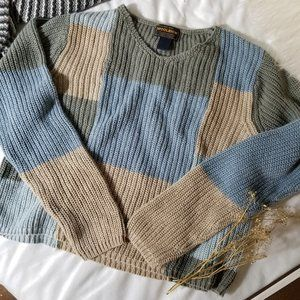 cropped colorblock ribbed square knit sweater
